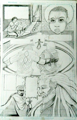 Page 1 pencils, Gebre Menfes Qeddus Comic, low quality photo.Ras Elijah Tafari
