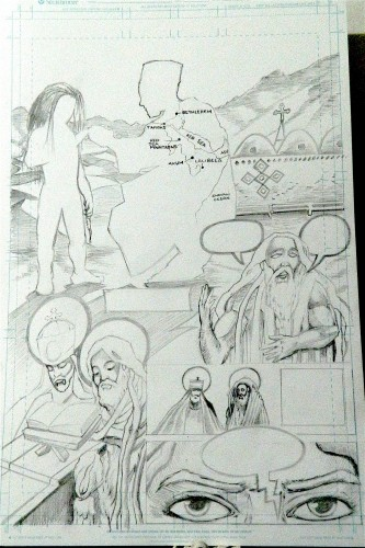 Page 2 pencils, Gebre Menfes Qeddus Comic, low quality photo.Ras Elijah Tafari