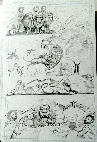 Page 3 pencils, Gebre Menfes Qeddus Comic, low quality photo.Ras Elijah Tafari